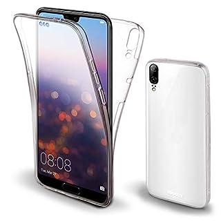 Moozy 360 Grad Hülle für Huawei P20 - Vorne und Hinten Transparenter TPU Ultra Dünn Weiche Silikon Handyhülle Case