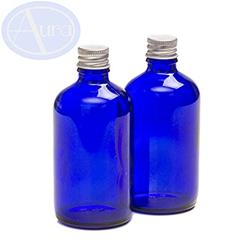 PACK of 2 - 100ml BLUE GLASS Bottles with SILVER Screw on Lids. Essential Oil / Aromatherapy Use.