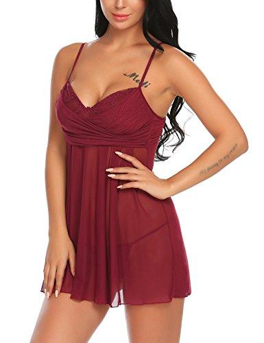 Avidlove Damen Sexy Negligee Babydoll Nachtwäsche Nachtkleid Nachthemd Kleid Lingerie Dessous Set mit Wickeloptik, Größe EU XXL, Farbe E-Violett - 5