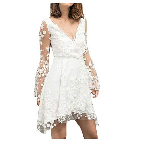 GATIK Frauen Brautjungfernkleider Transparent Lange Mesh Ärmel Tiefem V-Ausschnitt Spitze Stickerei Minikleider Damen Weiß Hochzeit Abendkleid(L,Weiß)