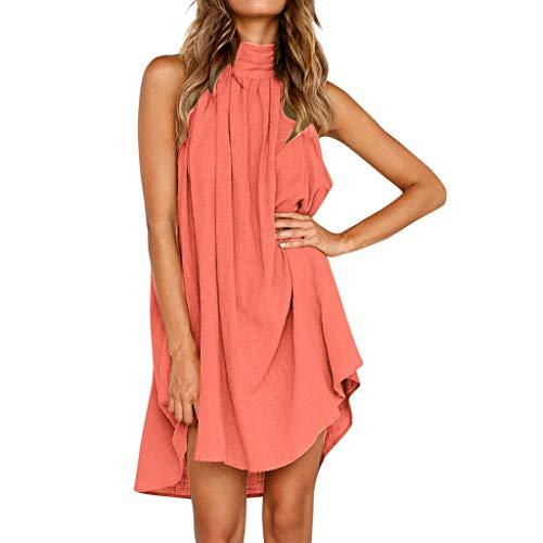 Damen Kleider, Bokeley Lose Kleid Casual Baumwolle Leinen Neckholder Hohle ärmellos Abend Party Mini Kleid (XL, schwarz) Medium Rose -