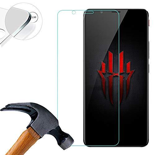 Lusee 2 X Pack Panzerglasfolie für ZTE Nubia Red Magic 2 6.0 Zoll Tempered Glass Hartglas Schutzfolie Folie Bildschirmschutz 9H (Nur den flachen Teil abdecken)