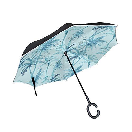 HYJDZKJY Double Layer Inverted Umbrellas Reverse Taschenschirm Palme Winddicht für Auto Regen im Freien mit C-förmigen Griff