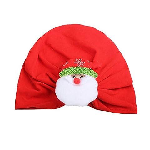 Baby Weihnachtsmütze Transer® Unisex Mädchen/Jungen Kleinkind Säugling Cap Hat Baumwollmischung Wärmer Mützen mit Elche Kopfbedeckung (A)