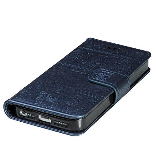 Custodia iPhone SE, ISAKEN Custodia iPhone 5S, Cover iPhone 5 Flip Case, Elegante borsa Custodia in Pelle Protettiva Portafoglio Case Cover per Apple iPhone 5 5S SE / con Supporto di Stand / Carte Slo Elefante: blu scuro
