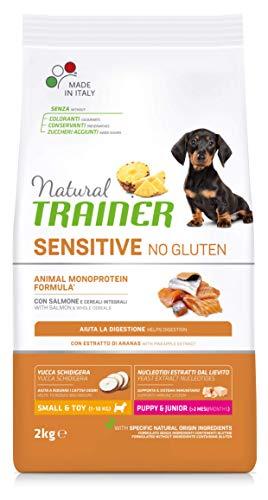 Natural Trainer Sensitive No Gluten - Cibo per Cani Small & Toy Puppy & Junior con Salmone e Cereali Integrali 2kg