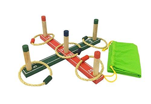 Funmate Ring Toss juego set de anillos de madera lanzando juego para niños jardin Play w / Bolsa de transporte