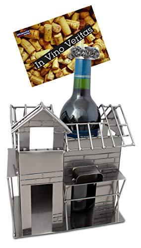 Brubaker Weinflaschenhalter Richtfest Deko-Objekt Metall Flaschenständer mit Grußkarte