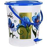 Fuscia™ Flower Design Plastic Dustbin 12L (Blue)