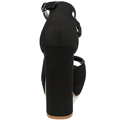 Oasap Women's Peep Toe Platform Chunky Heels Ankle Strap Pumps Pink