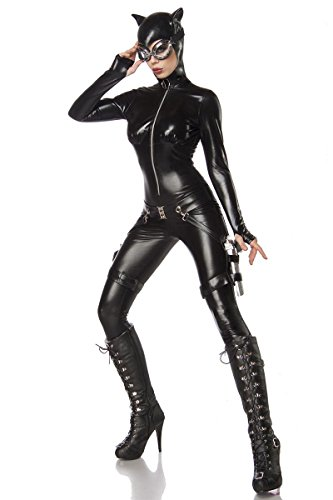 Sexy 6 tlg. Catwoman Kostüm Damenkostüm Katze Schwarz Anzug Overall Set Heldin, Gr. ()