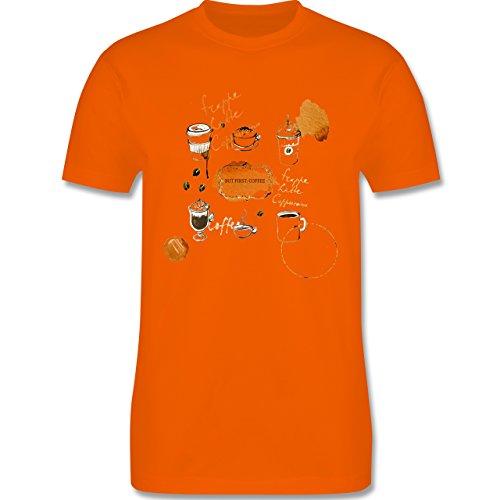Statement Shirts - But first: Coffee Wasserfarben - Herren Premium T-Shirt Orange