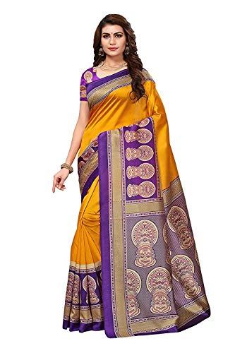Mysore Kunst Seide Saree mit Bluse für Damen & Mädchen,Party Wear Saree, Casual Saree, Abend Saree, Saree für Hochzeit, Kleid für Frauen, Party Wear Kleid (Senf) ()