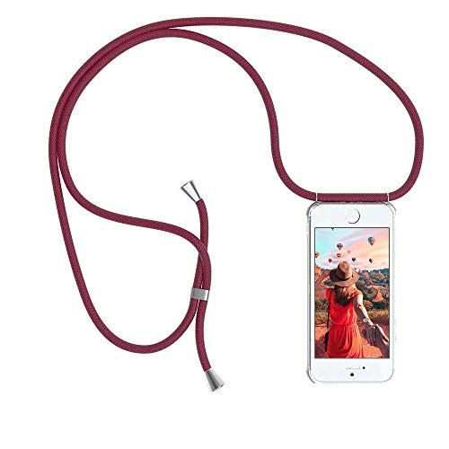 YuhooTech Handykette Kompatibel mit iPhone 5 / 5S / SE, Smartphone Necklace Hülle mit Band - Handyhülle mit Kordel Umhängenband - Schnur mit Case zum umhängen in Rot