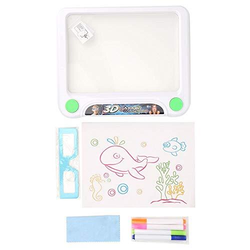 Magnetische Reißbrett 3D Fluoreszierende Schreiben Malerei Skizzenblock Zeichnung Licht Paint Board frühes pädagogisches Spielzeug für Kinder Jungen Mädchen(Weiß mit Brille)