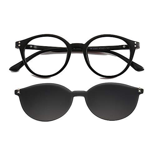 Sonnenbrillen für Damen Rahmenlose einteilige Sonnenbrille mit austauschbaren Linsen für Männer Frauen farbige Linse unzerbrechlich TR90 Rahmen Clip-on UV-Schutz Magie Sonnenbrille mit magnetischen Zu