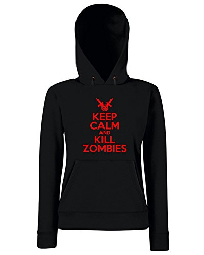T-Shirtshock - Felpa Donna Cappuccio TZOM0043 keep calm and kill zombies white, Taglia M