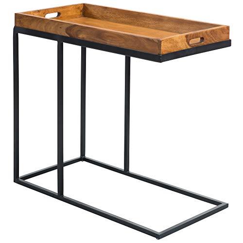 FineBuy Beistelltisch 69 x 65 x 34 cm Sheesham massiv Holz Metallgestell | Design TV-Tray Tabletttisch Wohnzimmer | Kleiner Palisander Serviertisch Naturholz | Abstelltisch Holz Metall Tablett