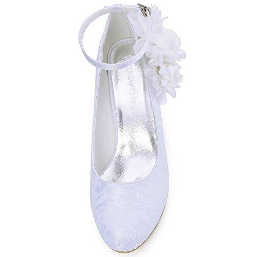 Chaussures Fermé Mariage Toe Bas ElegantPark Femmes Pompes HC1612 de Lace Soirée Blanc Talon 8F16Ax