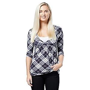 Happy-Mama-Premam-Top-Camiseta-de-Lactancia-Efecto-2-en-1-para-Mujer-372p-A-Cuadros-EU-44-2XL