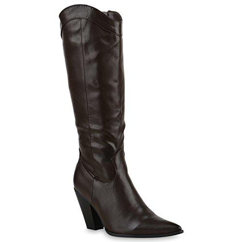 Damen Cowboy Stiefel Langschaft Western Boots Leder-Optik Schuhe 128572 Dunkelbraun Braun 36 Flandell