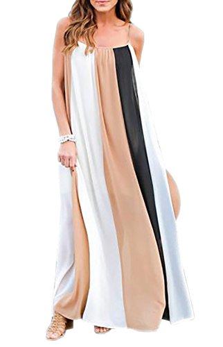 Jastore ® Damen Sommerkleid Strandkleid boho Weiß Casual lang Kleid einfach Frauen Maxi Kleider gestreift Träger Ärmellos Cocktailkleider Beachwear (S, Schwarz) (Sommer-weiße Maxi-kleider)