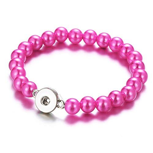 ZKZDSL Armband Mode Bunte Nachahmungen Von Perlen Perlen Snap Armbänder Elastic Fit Snap Buttons Schmuck Fuchsia (Perlen-snap Button Armbänder)