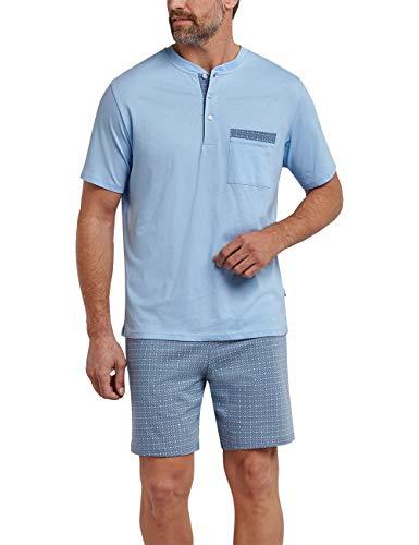 Schiesser Herren Anzug kurz\' Zweiteiliger Schlafanzug, Blau (Indigoblau 824), X-Small (Herstellergröße: 046)