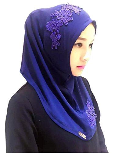 GladThink Musulmane Hijab dentelle brodée Écharpe Fleur des femmes Bleu