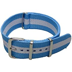 Multicolor stripes nylon fabric mens replacement watch strap bands 20mm