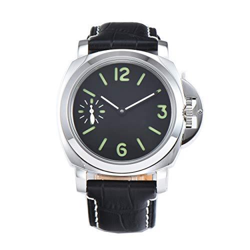PARNIS-mm 9501 Herrenuhr Handaufzug-Uhr 44mm Edelstahl-Gehäuse Leder Mineralglas 5BAR Seagull ST36 Uhrwerk Sandwich-Zifferblatt dezentrale Sekunde