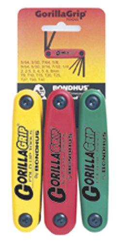 Bondhus Sechskant Stiftschlüssel Set GorillaGrip im 3er Satz 2-8mm, 5/64-1/4 & T9-T40 12533 (Bondhus Gorilla Grip)