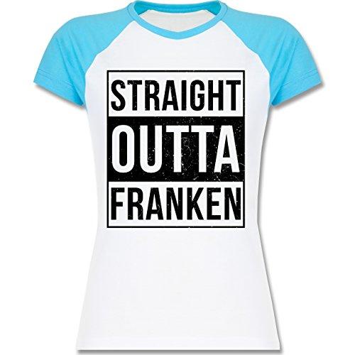 Franken Frauen - Straight Outta Franken Schwarz - L195 Damen Baseball Shirt Weiß/Türkis