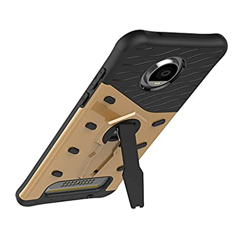 UKDANDANWEI Motorola Moto Z2 Play Étui Coque - 2 Couche Holster Combo Antichoc [Protection Goutte]360 degrés support de rotation Soutien Hard Cover Case pour Motorola Moto Z2 Play - Doré