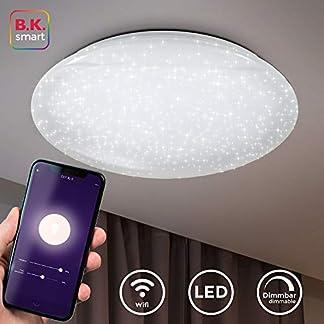 Plafoniera Smart, funziona con App, Amazon Alexa, Google Home, dimmerabile con lo smartphone, luce calda neutra fredda, lampadario Wi-fi, decoro a cielo stellato, Ø50cm, LED integrati 4.000lm 40W