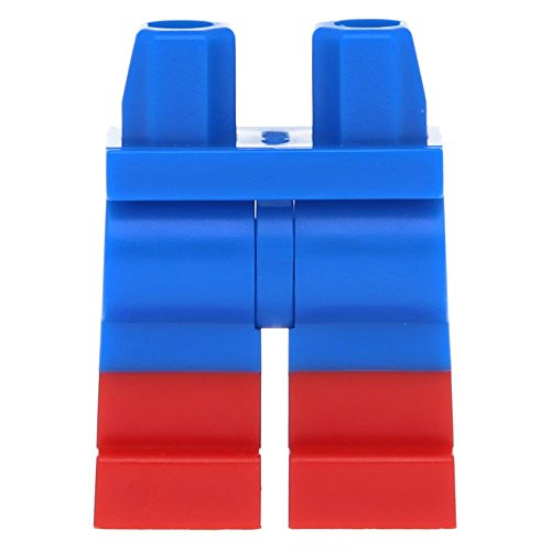 5 x LEGO® Hips and Legs with Red Boots Pattern Blue