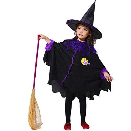 SEWORLD Baby Halloween Kleidung,Niedlich Kleinkind Kinder Baby Mädchen Halloween Kleidung Kostüm Kleid Party Mantel + Hut Outfit(Schwarz,11 Jahren)