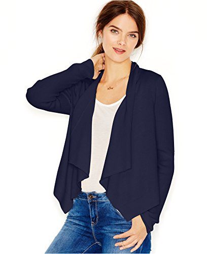 Maison Jules Women's Open Draped Front Cropped Cardigan (X-Small, Blue Notte) (Cardigan Cropped Front)