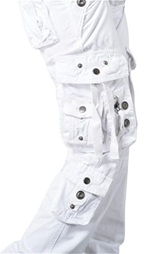 SMITHROAD Damen Cargohose Trainingshose Arbeitshose Geradebein 4 Farben für Auswahl Gr. 34 bis 46 Weiß