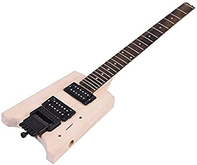 ammoon Inconcluso Kit de Bricolaje de la Guitarra Eléctrica Diseño Especial Sin Cabezal Cuerpo de Tilo Palisandro Mástil de Arce