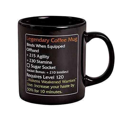 Elbenwald Legendary Coffee Mug Tasse Level 120 MMO Item für World of Warcraft Fans 320ml Keramik schwarz Wow Mug