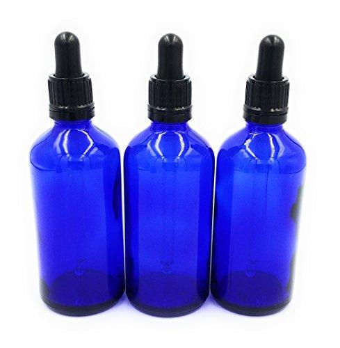 100 Heilmittel (Blauglas York Flasche mit Glaspipetten Tropfverschluss - Aromatherapie ätherische Öle Bachblüten Heilmittel Tinktur Ohrentropfen Augentropfen (3 Stück, 100ml))