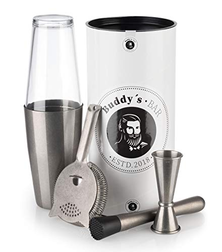 "Buddy´s Bar - \""Boston Bar-Set\"", 700 ml, Boston Cocktail-Shaker, Barmaß, Stößel, Barsieb, lebensmittelecht, Bar-Set inklusive Geschenkbox, Edelstahl antik"