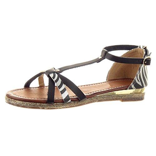 Sopily - damen Mode Schuhe Sandalen T-Spange glänzende Seil leopard - Schwarz WL-852 T 36 (Leopard Sandalen Moda)