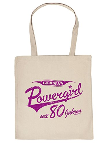 (Geburtstag Sackerl ::: Powergirl seit 80 Jahren ::: lustige Geburtstags-Tasche)
