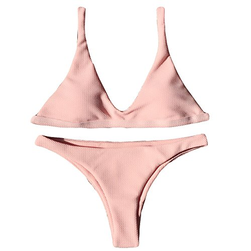 (Zilosconcy Damen Push-Up Gepolsterter BH Beach Bikini Set Badeanzug Bademode Beachwear Sexy Seaside Badeanzug Mode Bikini Beachwear Surfen Bademode Strandkleidung Beachwear)
