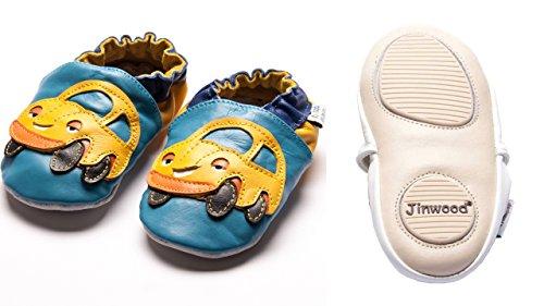 Jinwood designed by amsomo - FUNNY CARS oceanblue - mini shoes - Auto - Hausschuhe - Lederpuschen - Krabbelschuhe Blau