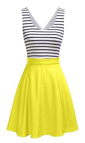 Brinny A-Linien Kleider Damen knielang Kleider Skaterkleid Minikleid Ärmellose Kleider Kurz Partykleider mit Streifen Gelb