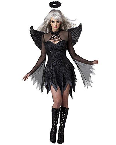 Damen Märchen Kostüm Engel Für Halloween Karneval Fasching Kleid Cosplay Set Schwarz 2839 (Engel Kostüme Erwachsenen Sexy)