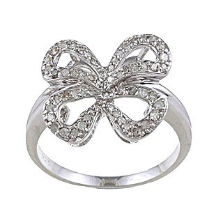 Argento Sterling 1/3TDW diamante Bow anello (G-H, I1-I2), argento, 57 (18.1), cod. R8532BVS-sz8